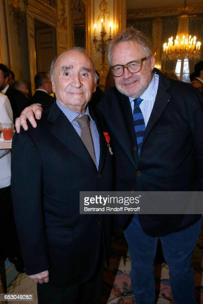 Claude Brasseur and Dominique Segall attend Claude Brasseur is elevated to the rank of Officier de la Legion d'Honneur at Elysee Palace on March 13...
