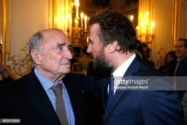 "Claude Brasseur and his son Alexandre Brasseur attend Claude Brasseur is elevated to the rank of ""Officier de la Legion d'Honneur"" at Elysee Palace..."