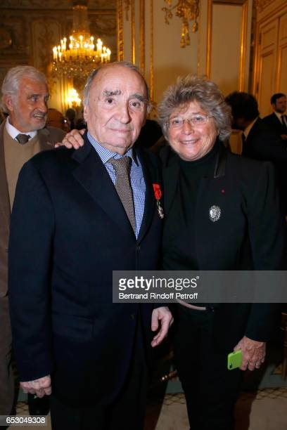Claude Brasseur and Jacqueline Franjou attend Claude Brasseur is elevated to the rank of Officier de la Legion d'Honneur at Elysee Palace on March 13...