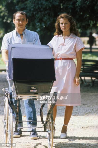 Claude Brasseur et Agostina Belli lors du tournage du film 'Le Grand Escogriffe' de Claude Pinoteau en juin 1976 à Rome Italie