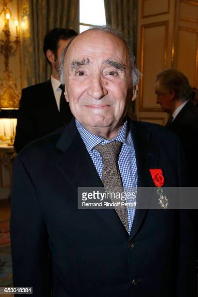 "Claude Brasseur is elevated to the rank of ""Officier de la Legion d'Honneur"" at Elysee Palace on March 13, 2017 in Paris, France."
