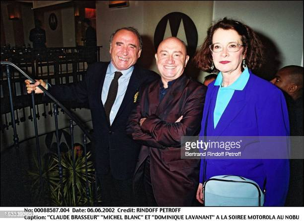Claude Brasseur Michel Blanc and Dominique Lavanant Motorola party at Nobu in Paris in 2002