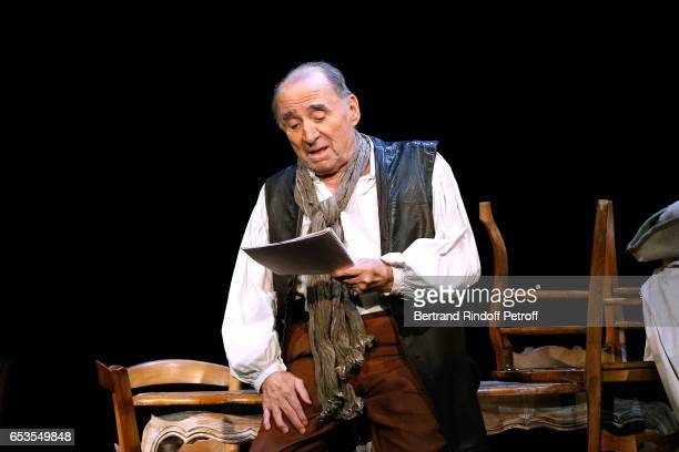 Claude Brasseur performs in L'indigent Philosophe ou la pilosophie de la joie at Theatre de L'Atelier on February 28 2017 in Paris France