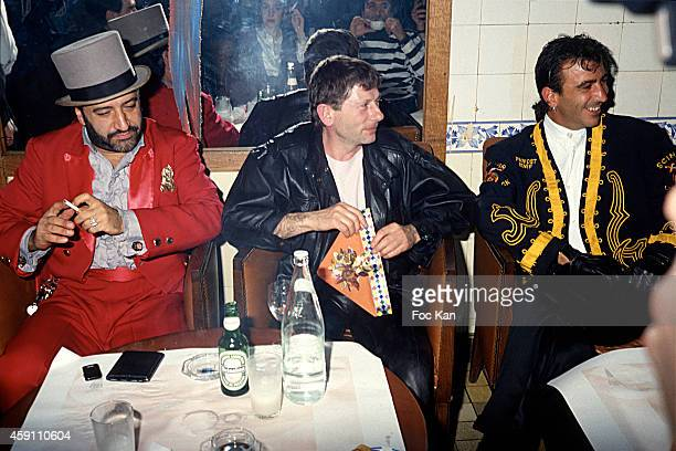 Claude Challe Roman Polanski and Les Bains Art Director attend a fashion week Party at Les Bains Douches in the 1990s in Paris France