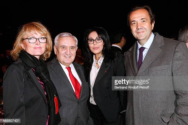Claude Chirac with her husband Frederic SalatBaroux JeanPierre raffarin and French Junior Minister for French Nationals Abroad and Relations with La...