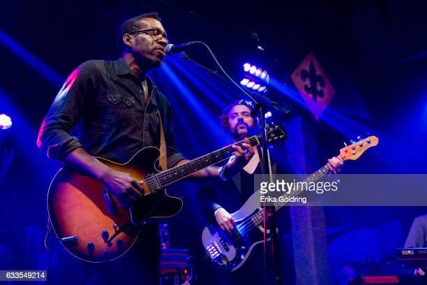 Claude Coleman Jr and Jon Sullivan of Amandla perform at Tipitina's on February 1 2017 in New Orleans Louisiana