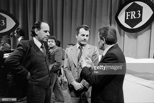 Claude Contamine president of France régions 3 and the director Maurice Cazeneuve on the set We perceive background Jacques Villeret