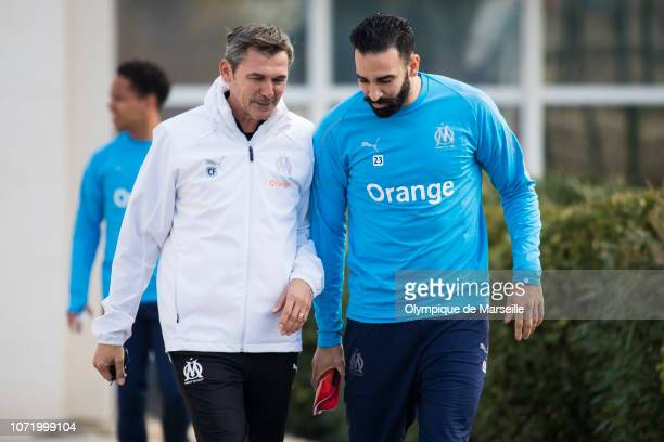Claude Fichaux and Adil Rami during a training session at Centre RobertLouis Dreyfus on December 12 2018 in Marseille France