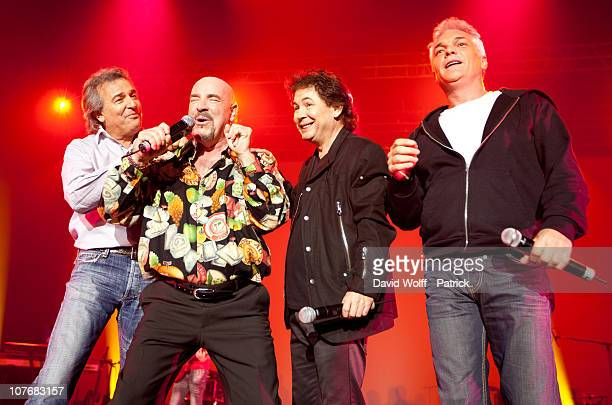 Claude Framboisier, Eric Bouad, Bernard Minet and Remy Sarrazin of Les Muscles perform live at Palais Omnisports de Bercy on December 18, 2010 in...