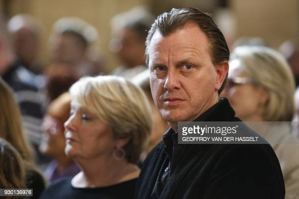 Claude Francois Jr attends a church service marking the 40th anniversary of his father French singer Claude Francois' death at the Notre Dame...