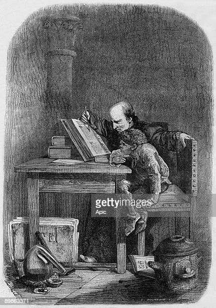 Claude Frollo teaching reading to young Quasimodo engraving by Dujardin illustration for book NotreDame de Paris by Victor Hugo 1877