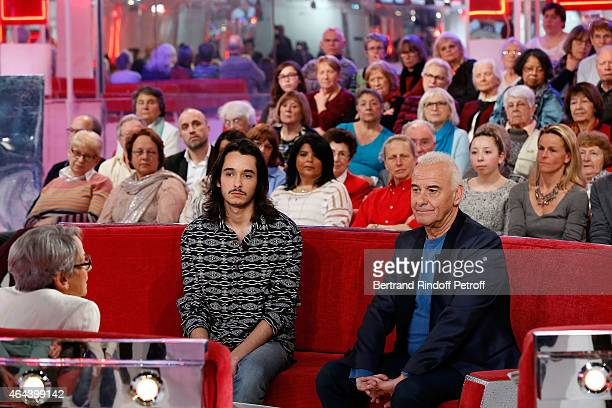 Claude Fugain Alexis Fugain and Singer Michel Fugain attend the 'Vivement Dimanche' French TV Show at Pavillon Gabriel on February 25 2015 in Paris...