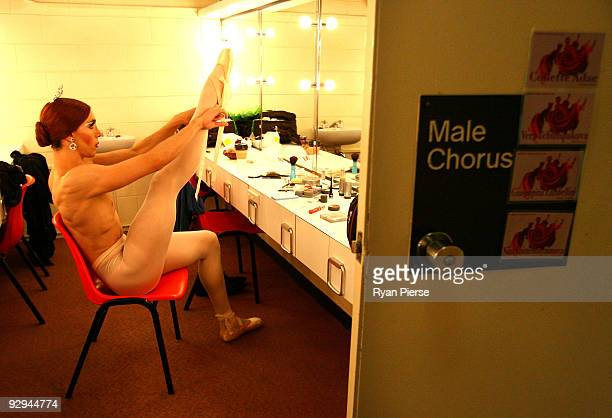 Claude Gamba prepares his costume before the press call for Les Ballets Trockadero de Monte Carlo at the Theatre Royal on November 10 2009 in Sydney...