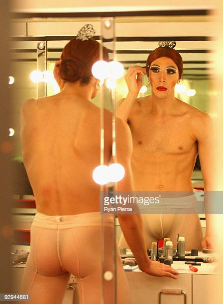 Claude Gamba prepares his makeup before the press call for Les Ballets Trockadero de Monte Carlo at the Theatre Royal on November 10 2009 in Sydney...