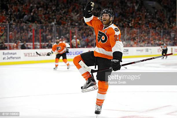 Claude Giroux of the Philadelphia Flyers celebrates after scoring a goal against Pittsburgh Penguins during the second period at Wells Fargo Center...
