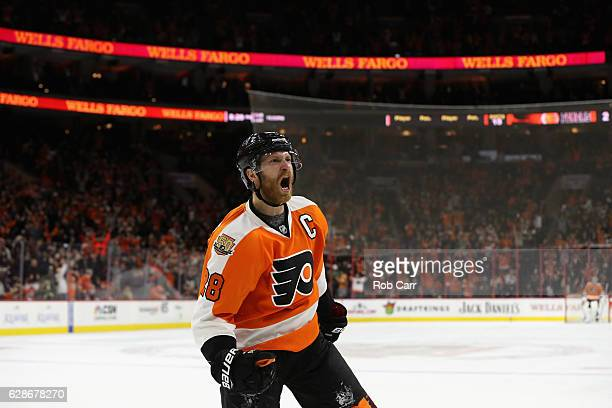 Claude Giroux of the Philadelphia Flyers celebrates after scoring a second period goal against the Edmonton Oilers at Wells Fargo Center on December...