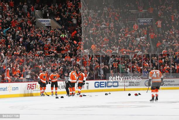 Claude Giroux of the Philadelphia Flyers celebrates his hattrick at 1011 of the third period against the New York Rangers at the Wells Fargo Center...