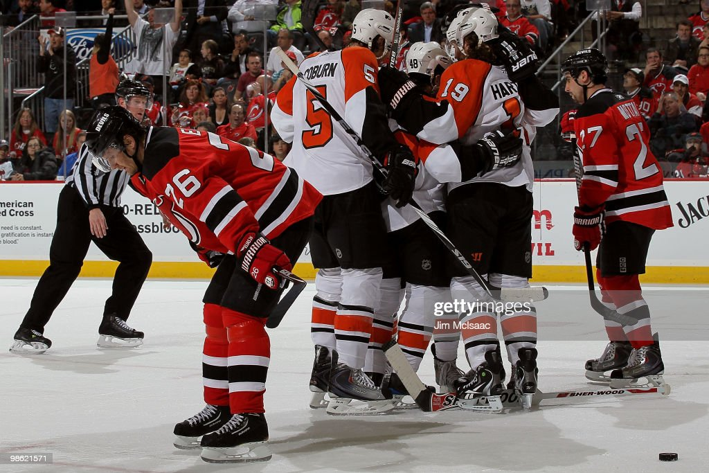 Claude Giroux  28 of the Philadelphia Flyers celebrates with his team after  scoring a goal 8cf27c9cd