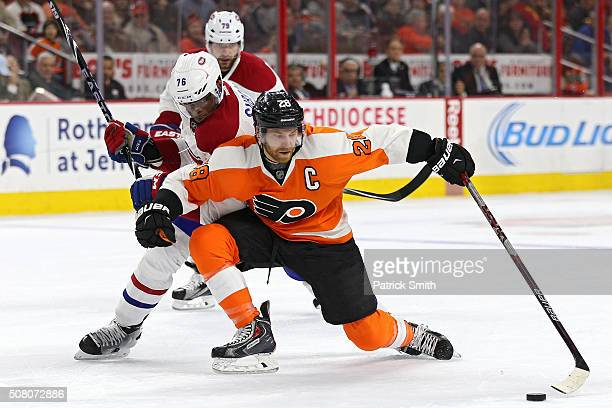 Claude Giroux of the Philadelphia Flyers controls the puck in front of PK Subban of the Montreal Canadiens during the second period at Wells Fargo...