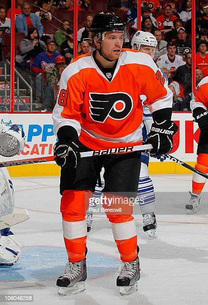 Claude Giroux of the Philadelphia Flyers during a hockey game against the Toronto Maple Leafs at the Wells Fargo Center on October 23 2010 in...