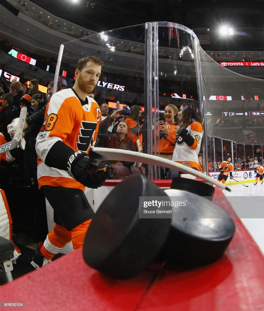 Claude Giroux #28 of the Philadelphia Flyers heads out for warmups prior to the game against the Calgary Flames at the Wells Fargo Center on November 18, 2017 in Philadelphia, Pennsylvania. The Flames defeated the Flyers 5-4 in overtime.