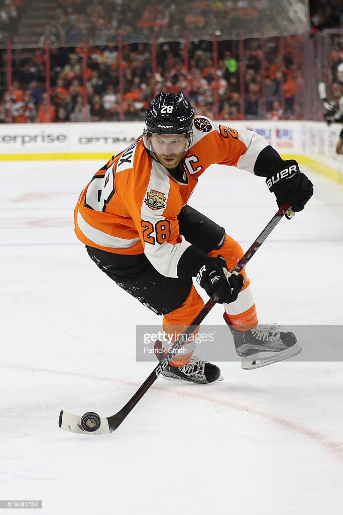 Claude Giroux #28 of the Philadelphia Flyers in action against Pittsburgh Penguins during the first period at Wells Fargo Center on October 29, 2016 in Philadelphia, Pennsylvania.