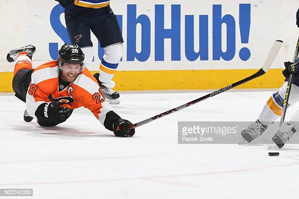 Claude Giroux of the Philadelphia Flyers in action against the St Louis Blues at Wells Fargo Center on December 21 2015 in Philadelphia Pennsylvania