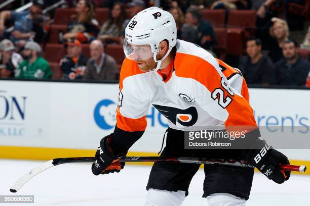 Claude Giroux of the Philadelphia Flyers lines up for a faceoff during the game against the Anaheim Ducks on October 7 2017 at Honda Center in...