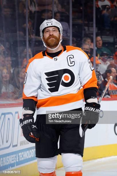 Claude Giroux of the Philadelphia Flyers looks on against the Boston Bruins at Wells Fargo Center on October 20, 2021 in Philadelphia, Pennsylvania.