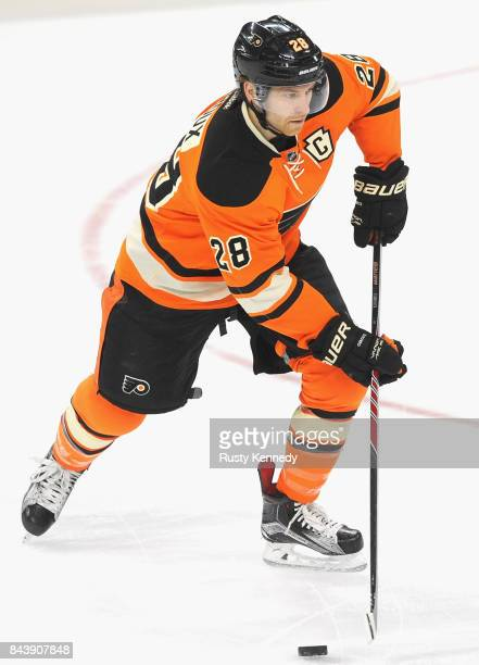 f39ce15bca9 Claude Giroux of the Philadelphia Flyers plays in the game against the  Detroit Red Wings at