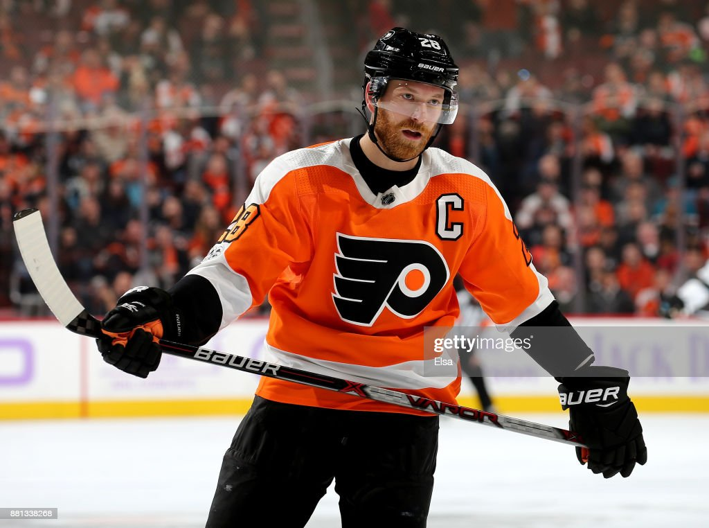 Claude Giroux #28 of the Philadelphia Flyers reacts in the second period against the San Jose Sharks on November 28, 2017 at Wells Fargo Center in Philadelphia, Pennsylvania.