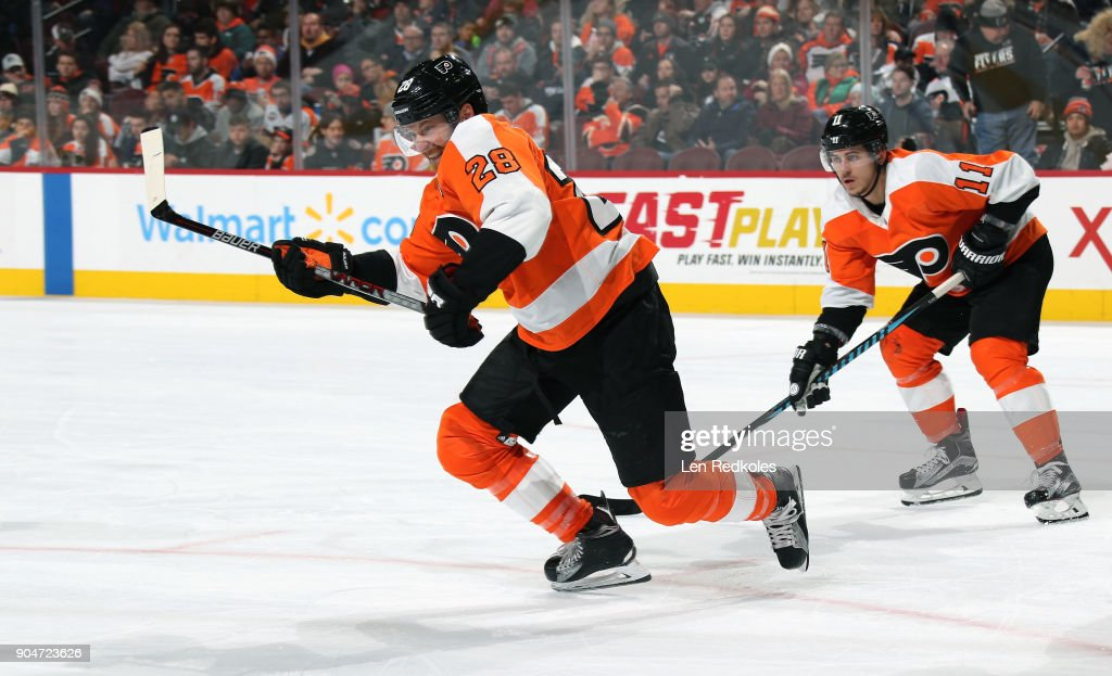 Claude Giroux #28 of the Philadelphia Flyers reacts to a face-off with Travis Konecny #11 against the St Louis Blues on January 6, 2018 at the Wells Fargo Center in Philadelphia, Pennsylvania.