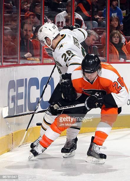 Claude Giroux of the Philadelphia Flyers skates against Steve Ott of the Dallas Stars on January 12 2010 at Wachovia Center in Philadelphia...