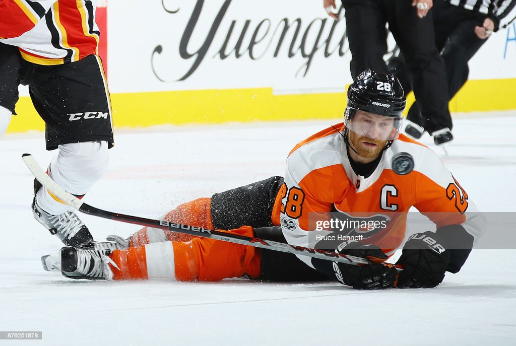 Claude Giroux #28 of the Philadelphia Flyers skates against the Calgary Flames at the Wells Fargo Center on November 18, 2017 in Philadelphia, Pennsylvania. The Flames defeated the Flyers 5-4 in overtime.