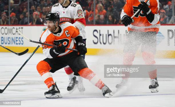 Claude Giroux of the Philadelphia Flyers skates against the Florida Panthers on November 13 2018 at the Wells Fargo Center in Philadelphia...