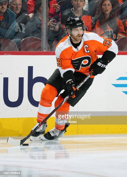Claude Giroux of the Philadelphia Flyers skates the puck against the New York Islanders on October 27 2018 at the Wells Fargo Center in Philadelphia...