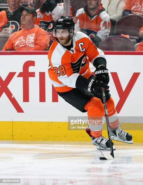 Claude Giroux of the Philadelphia Flyers skates the puck against the Pittsburgh Penguins in Game Four of the Eastern Conference First Round during...