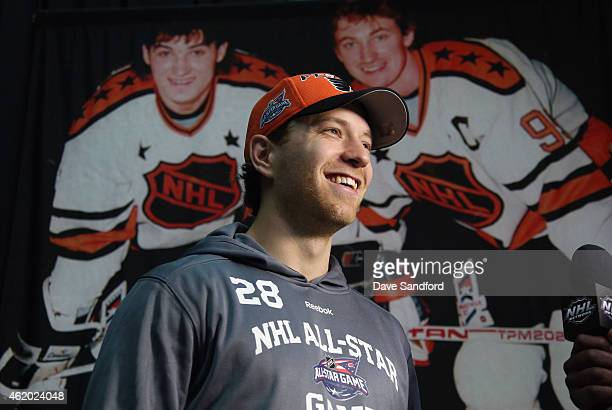 Claude Giroux of the Philadelphia Flyers speaks during the Media Availability as part of the 2015 NHL AllStar weekend at Nationwide Arena on January...