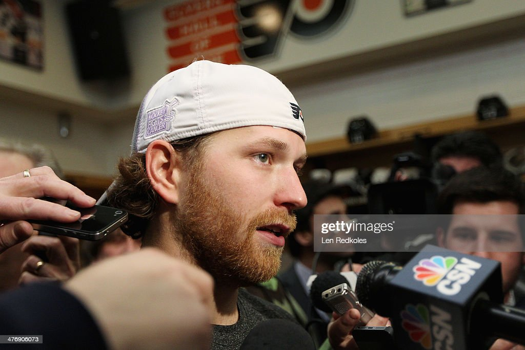 Claude Giroux #28 of the Philadelphia Flyers speaks to the media after a win over the Washington Capitals 6-4 on March 5, 2014 at the Wells Fargo Center in Philadelphia, Pennsylvania.