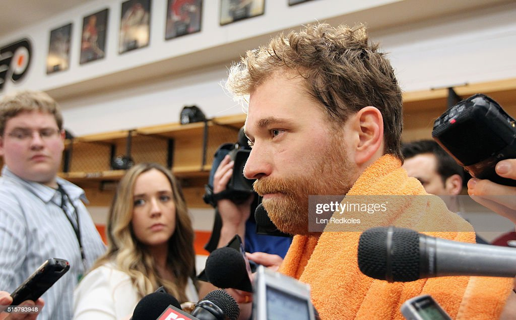 Claude Giroux #28 of the Philadelphia Flyers speaks to the media after defeating the Detroit Red Wings 4-3 on March 15, 2016 at the Wells Fargo Center in Philadelphia, Pennsylvania.