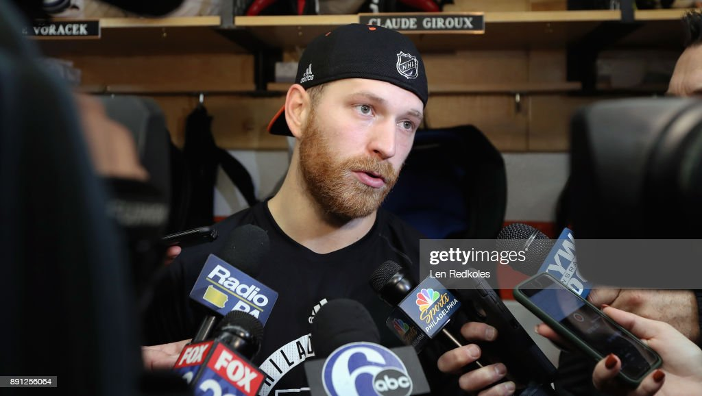 Claude Giroux #28 of the Philadelphia Flyers speaks to the media after defeating the Toronto Maple Leafs 4-2 on December 12, 2017 at the Wells Fargo Center in Philadelphia, Pennsylvania.