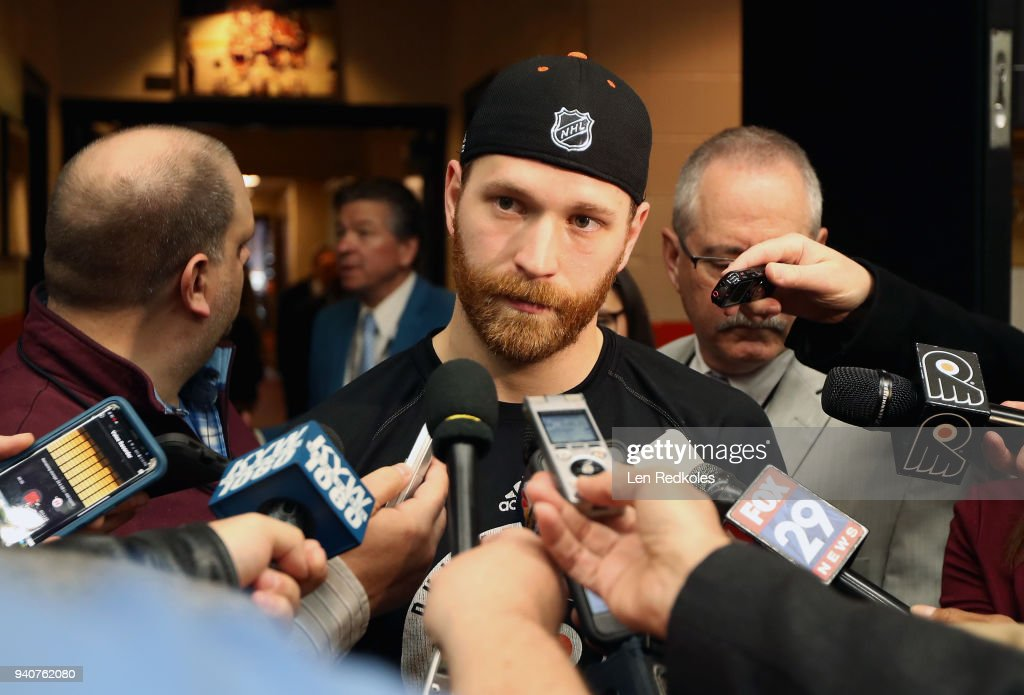 Claude Giroux #28 of the Philadelphia Flyers speaks to the media after scoring the game-winning goal in overtime to defeat the Boston Bruins 4-3 on April 1, 2018 at the Wells Fargo Center in Philadelphia, Pennsylvania.