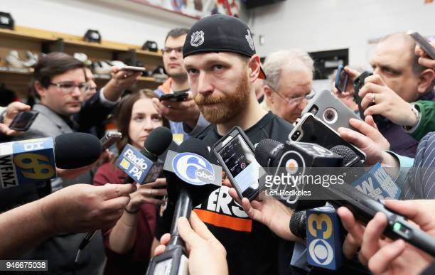 Claude Giroux of the Philadelphia Flyers speaks to the media after being defeated 51 by the Pittsburgh Penguins in Game Three of the Eastern...