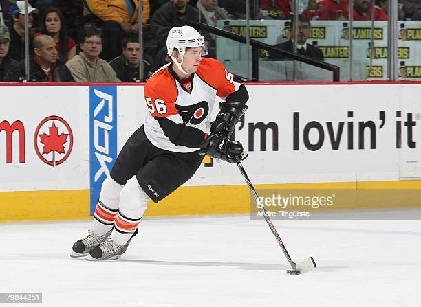 Claude Giroux of the Philadelphia Flyers stickhandles the puck in his NHL debut against the Ottawa Senators at Scotiabank Place on February 19 2008...