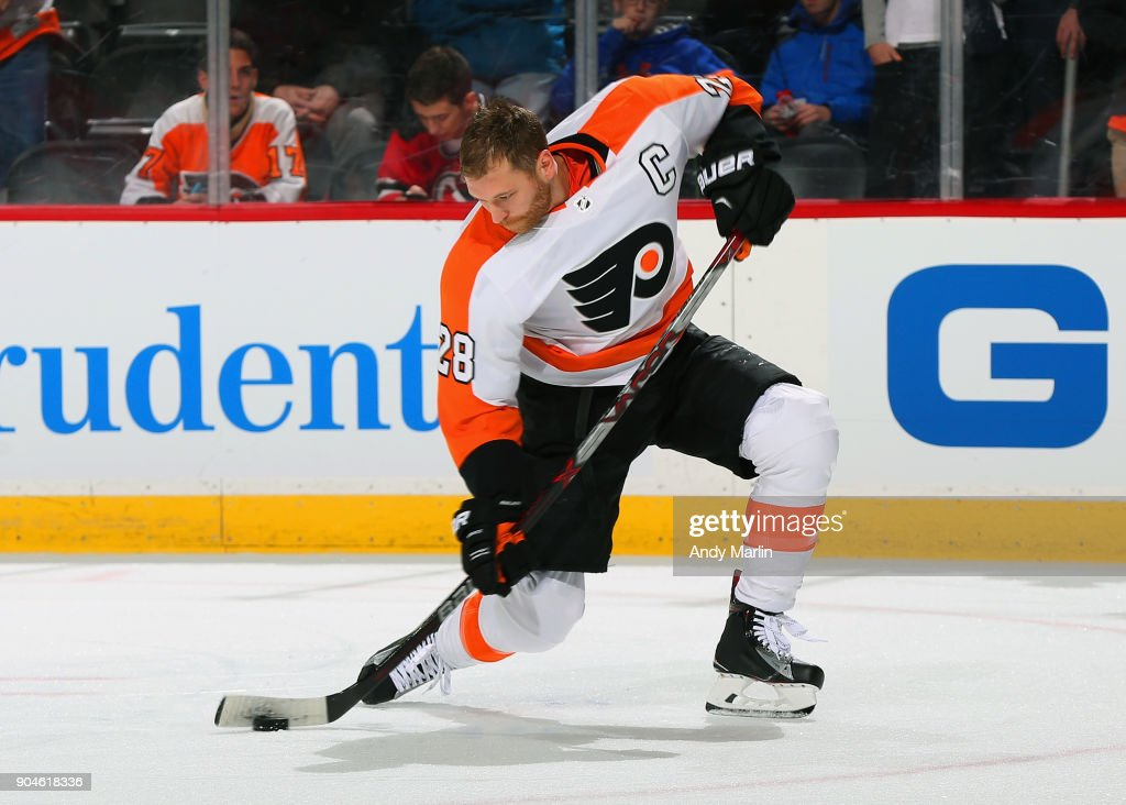 Claude Giroux #28 of the Philadelphia Flyers takes a shot during warmups prior to the game against the New Jersey Devils at Prudential Center on January 13, 2018 in Newark, New Jersey.