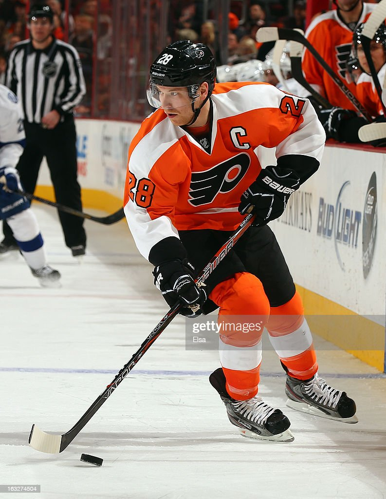 Claude Giroux #28 of the Philadelphia Flyers takes the puck against the Tampa Bay Lightning on February 5, 2013 at the Wells Fargo Center in Philadelphia, Pennsylvania.The Philadelphia Flyers defeated the Tampa Bay Lightning 2-1.
