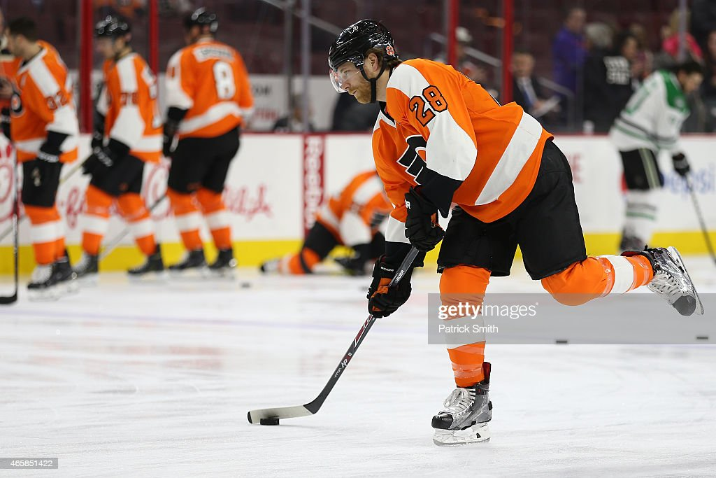 Claude Giroux #28 of the Philadelphia Flyers warms up before playing the Dallas Stars at Wells Fargo Center on March 10, 2015 in Philadelphia, Pennsylvania. The Dallas Stars won, 2-1.