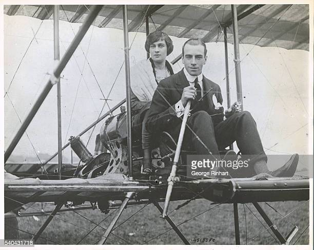 Claude GrahameWhite was a pioneer in aviation establishing England's first air mail system Here he is operating an early model airplane at Belmont...