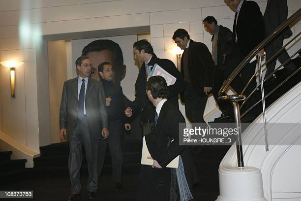 Claude Gueant Nicolas Sarkozy Laurent Solly David Martinon Franck Louvrier and JeanMichel Goudard in Paris France on January 15 2007