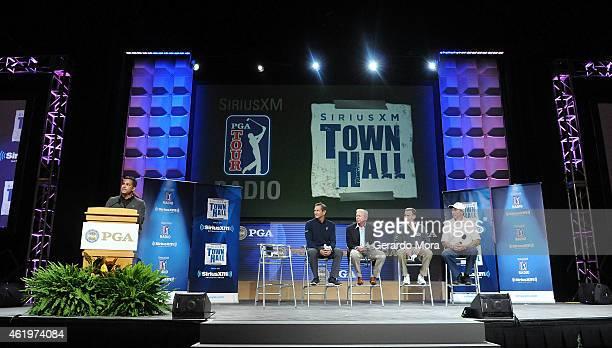 "Claude Harmon III, Hank Haney, Jim McLean, Michael Breed and David Leadbetter speak during the ""SiriusXM Teachers Town Hall"" at the PGA Merchandise..."